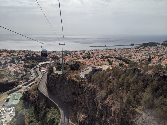 Heading up the Funchal Cable Car